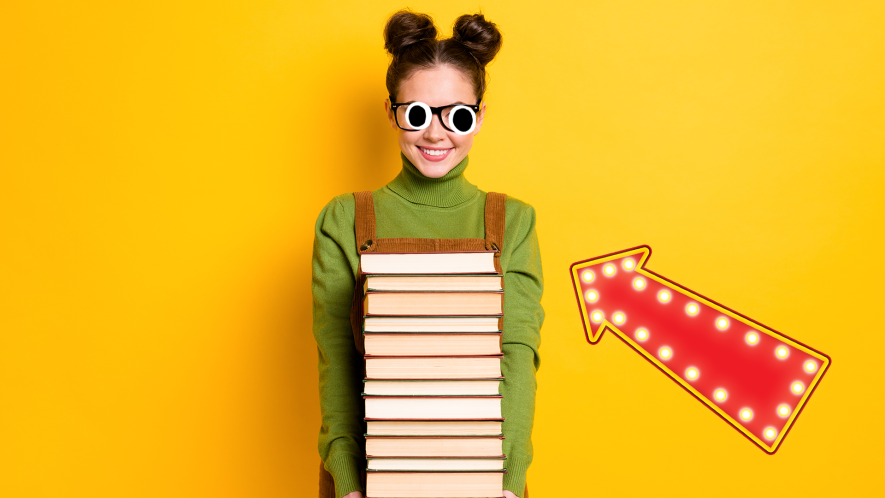 Nerdy looking girl with stack of books on yellow background and arrow