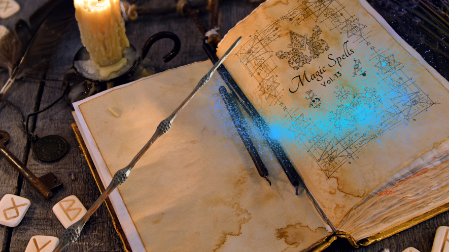 Spell book and runes with Beano wand and magic