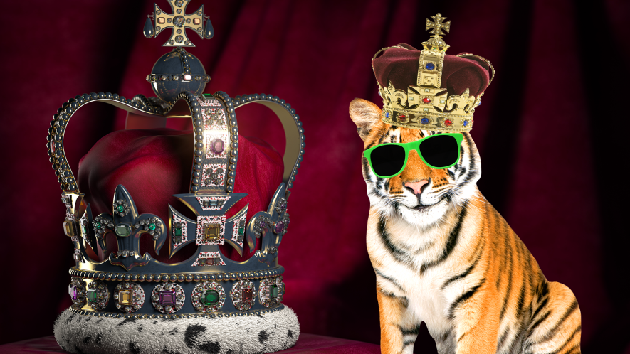 Crown and tiger in crown on red background