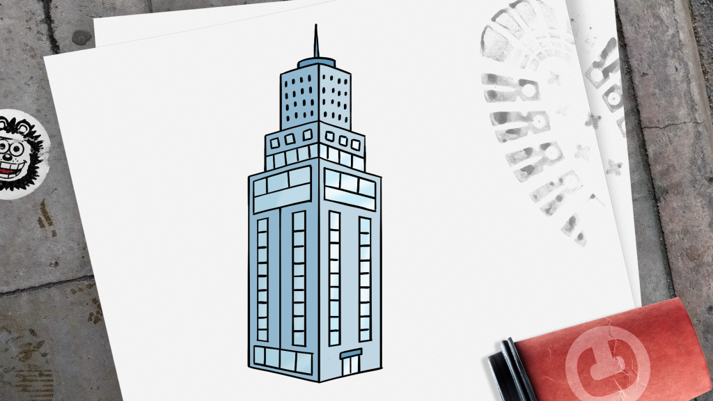 How to Draw a Skyscraper step 10