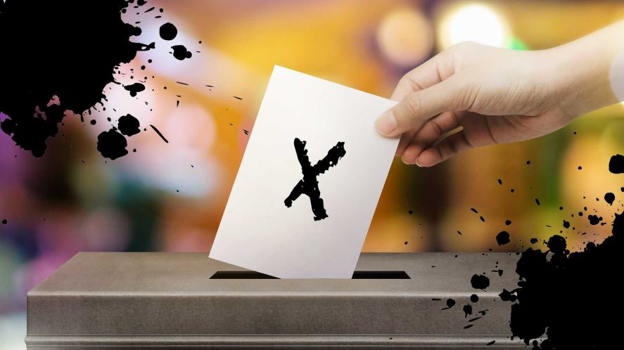A voting ballot box
