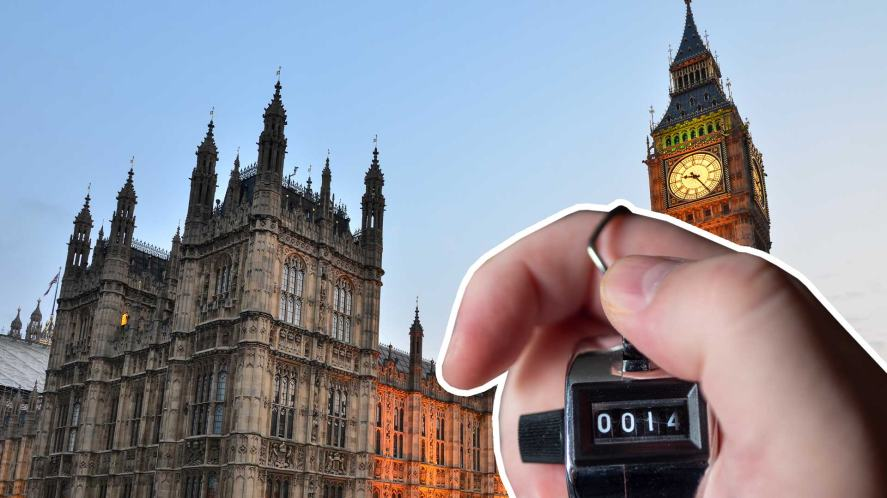 A clicker counting people at Parliament