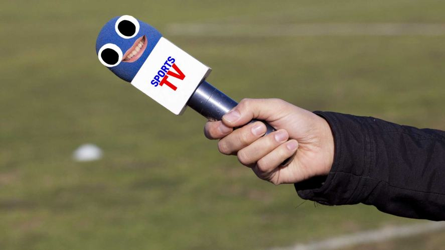 Sports commentator's microphone