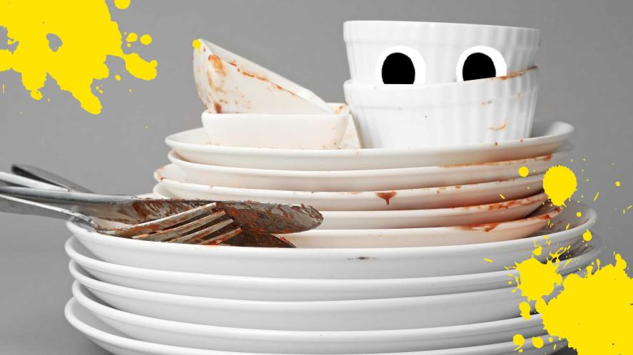 A pile of dirty plates