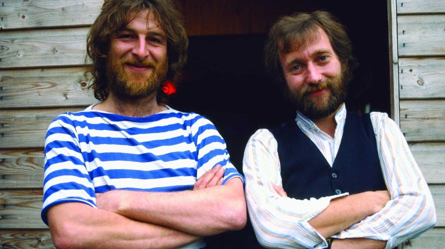 Chas and Dave outside their shed