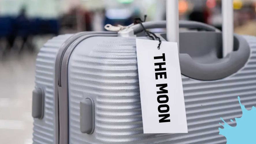 A suitcase with a tag which reads 'The Moon'