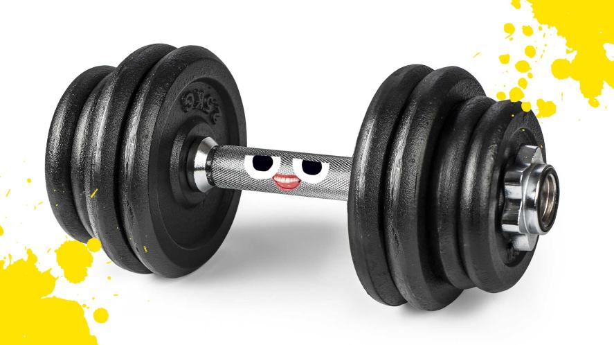 Weights with a cheeky face