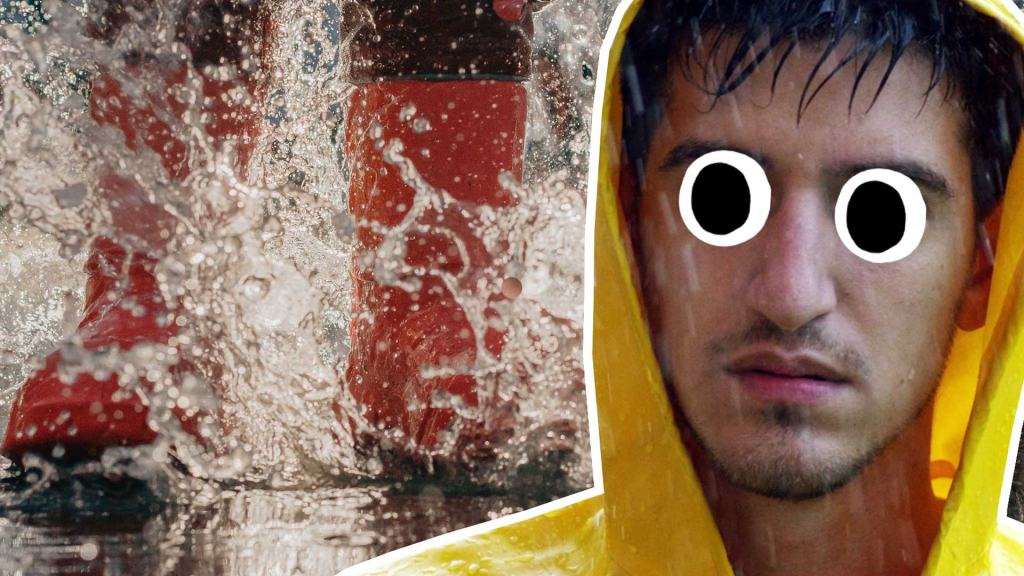 A soaking wet man