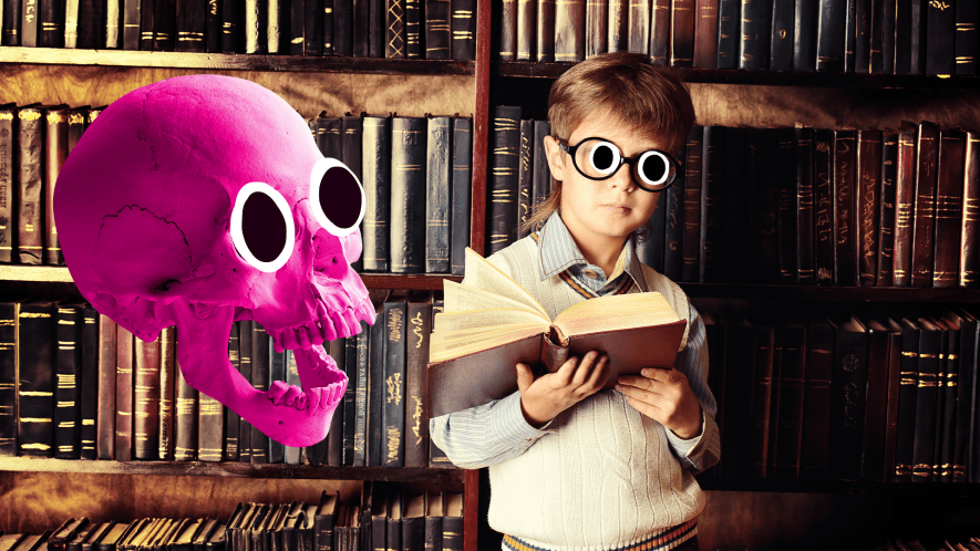 A pink skull floats near a boy in an old library