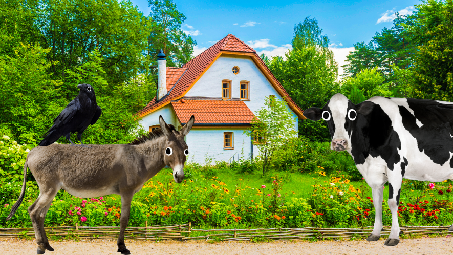 A Swiss style home being looked at by a donkey and a cow