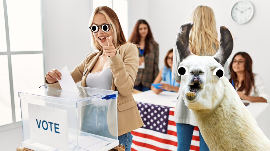 A woman and a llama voting