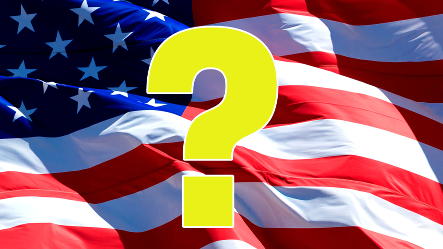 The US flag with a big question in front of it