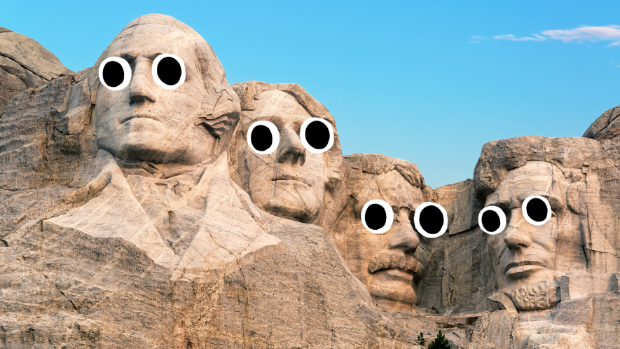 The four presidents carved into the rock face of Mount Rushmore