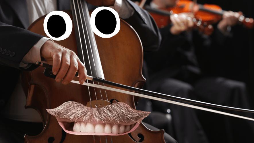 A large cello with a moustache