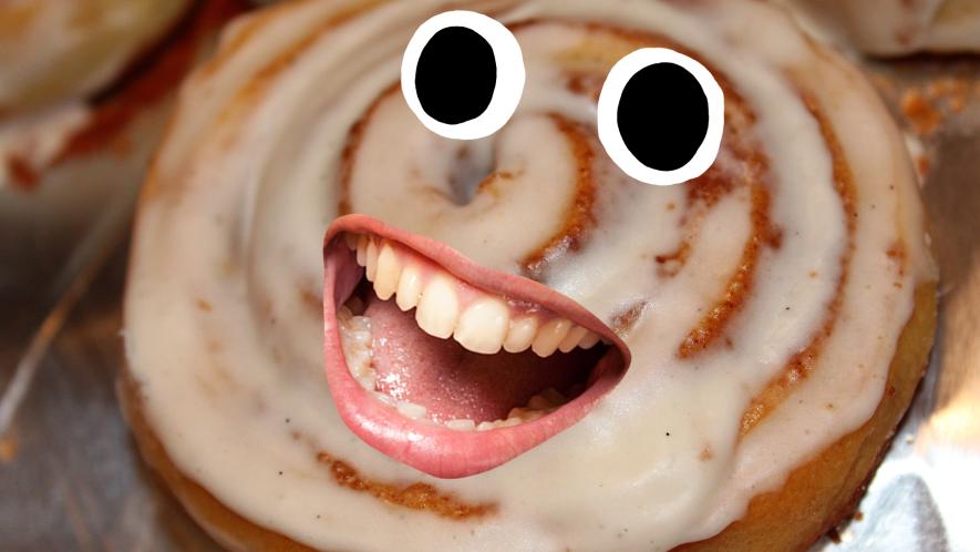 A happy cinnamon roll