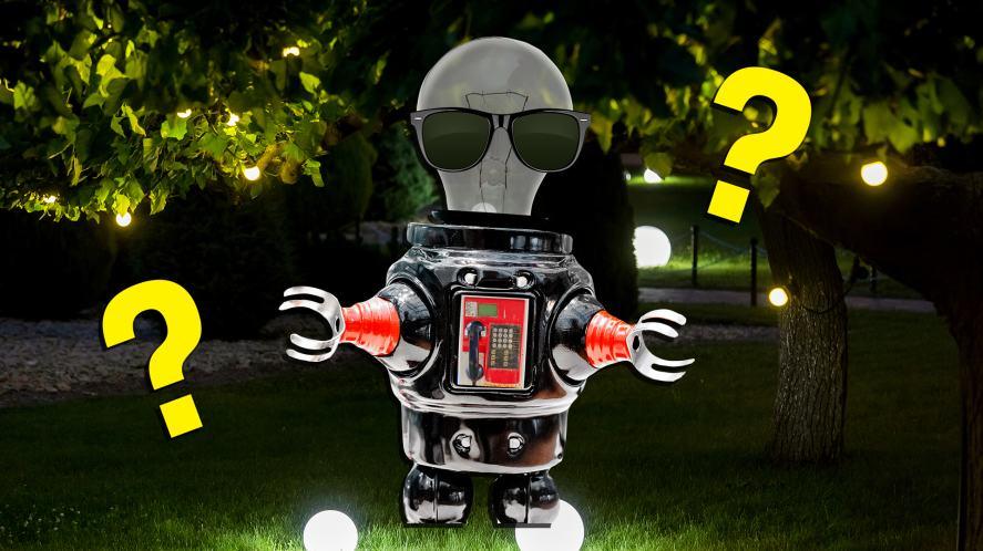 A confused robot in a dark garden