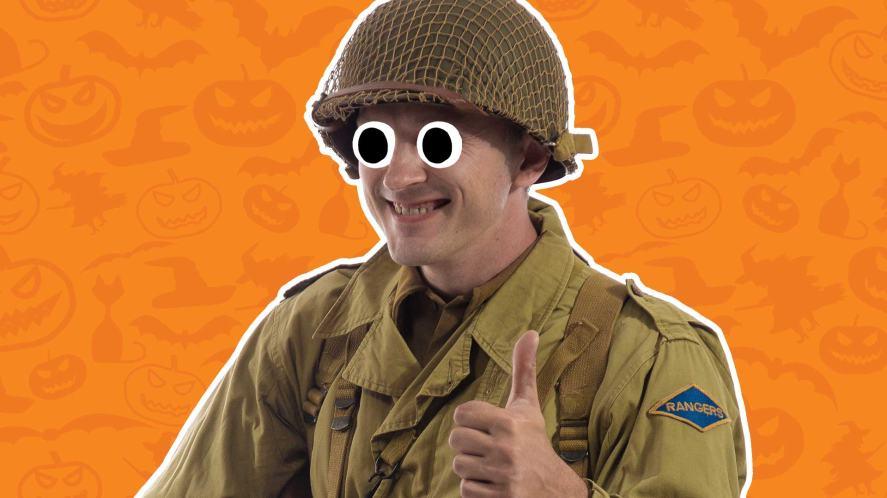 A man dressed in a USA world war 2 uniform