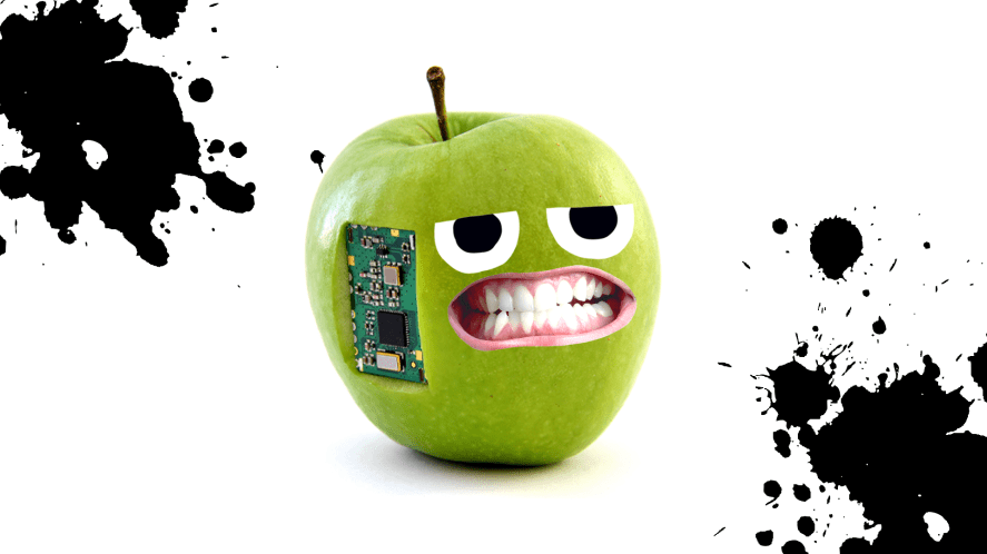 An apple turned into a spy gadget