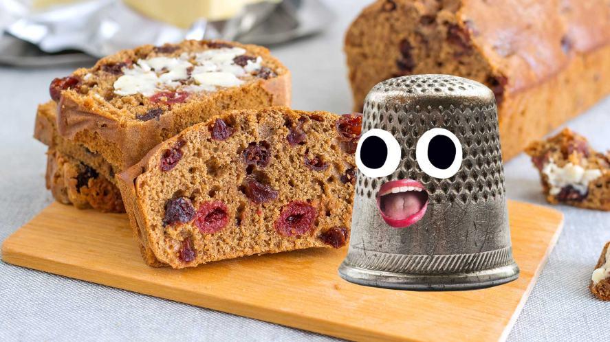 Barmbrack cake and a thimble
