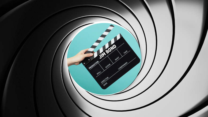 A James Bond style clapperboard