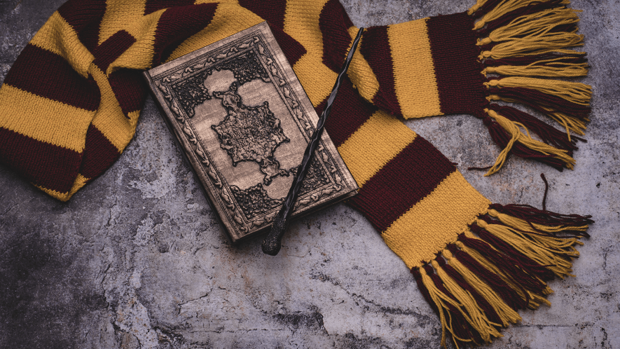 Scarf, wand, and spell book