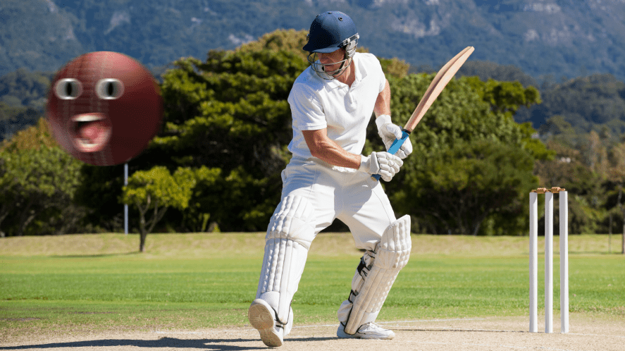 A batsman about to hit a cricket ball