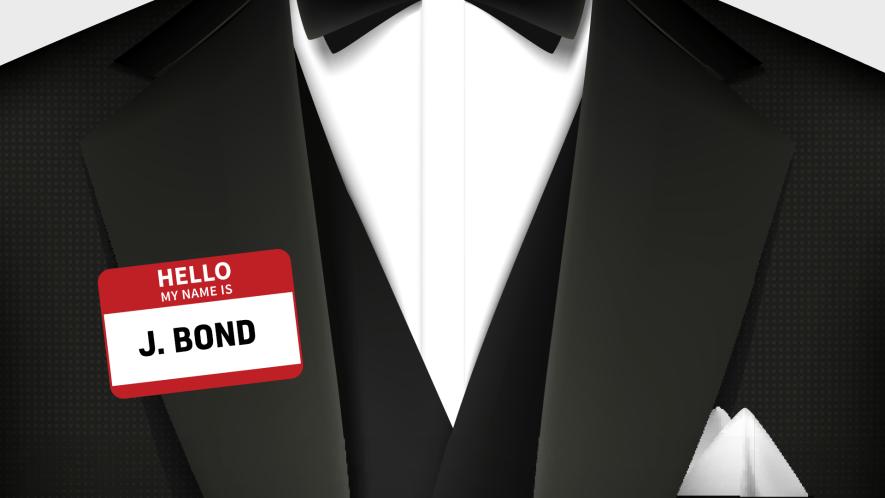 A tuxedo with a James Bound name tag