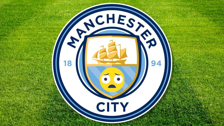 A Manchester City badge with a sad emoji