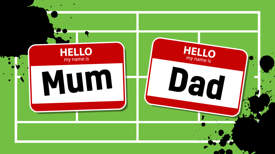 Parent name tags which read 'mum' and 'dad'