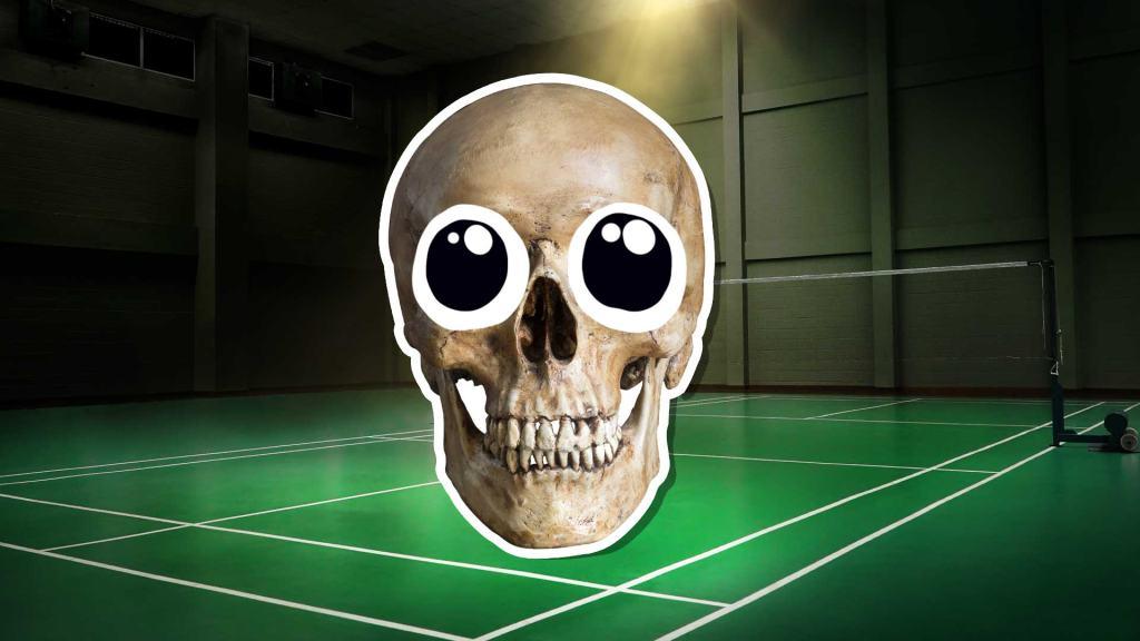 Skeleton at a badminton court