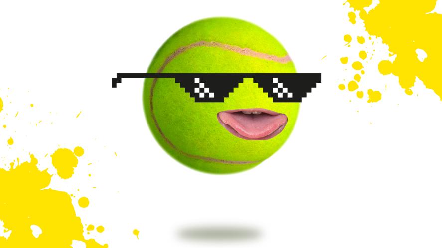 A tennis ball wearing sunglasses