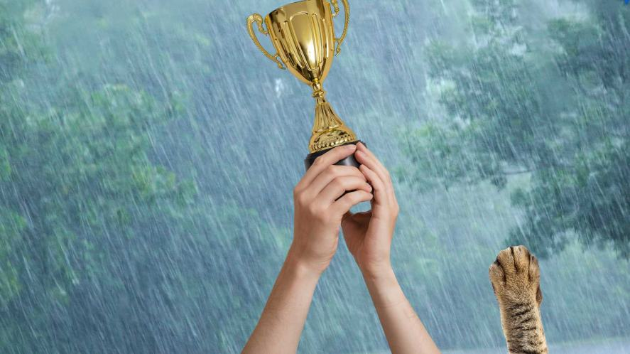 A football trophy being held aloft on a rainy day