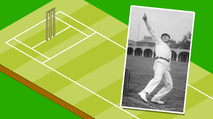 Wilfred Rhodes bowling