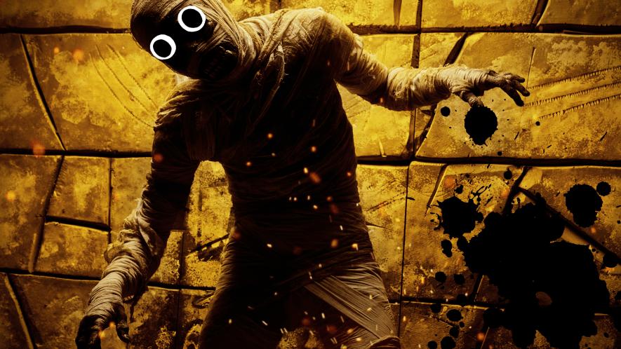 Creepy mummy with black splat