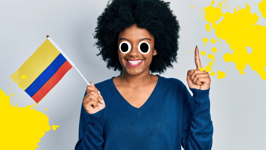 Woman waving flag with yellow splats on grey background