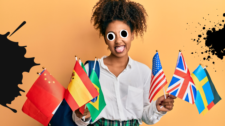 Woman holding world flags on orange background with splats