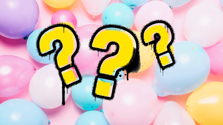 Balloon background with question marks