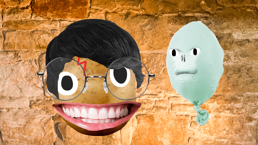 Beano Harry and Voldemort on stone background