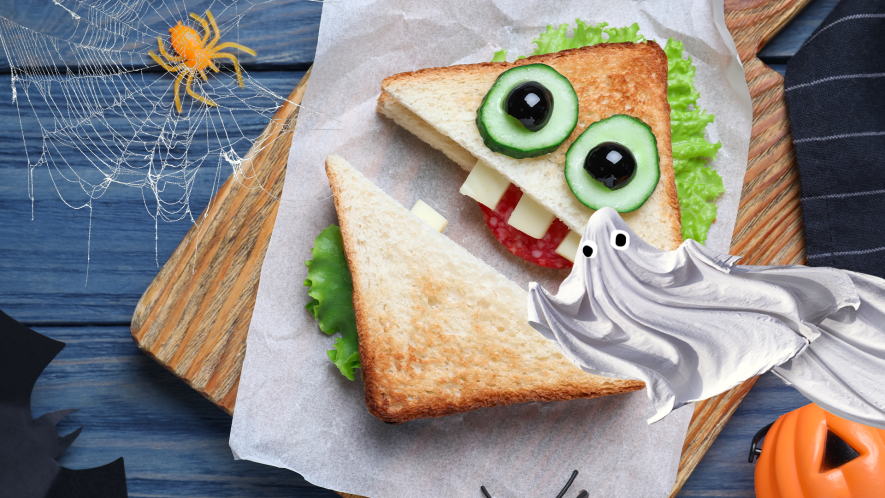 Spooky sandwich with Beano ghost and cobweb