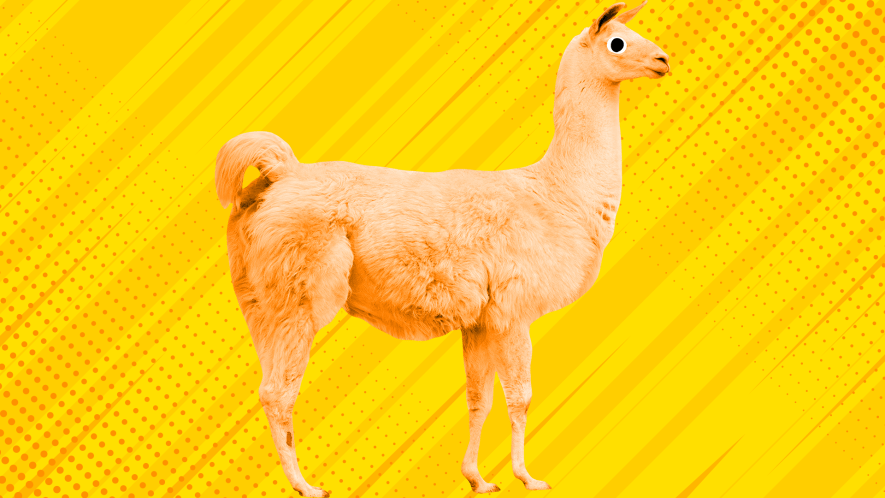A yellow llama on a yellow background