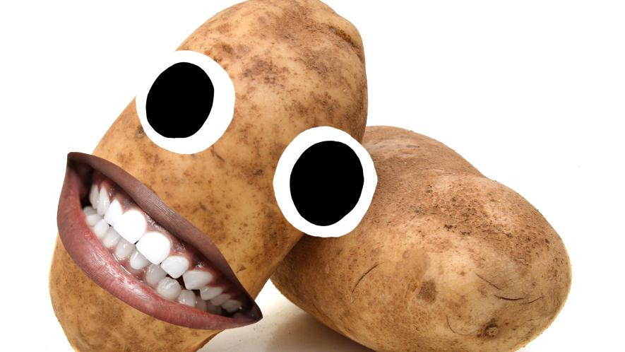 Smiling vegetables on white background