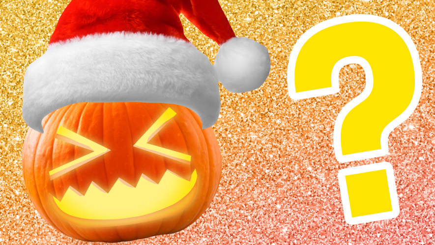 Pumpkin in Santa hat on glittery background with question mark