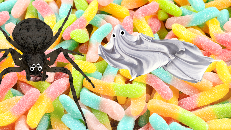 Jelly snake background with Beano ghost and spider