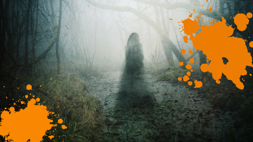 Creepy figure in forest with orange splats