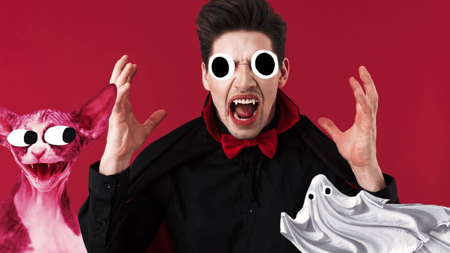 Vampire on red background with Beano golin and ghost