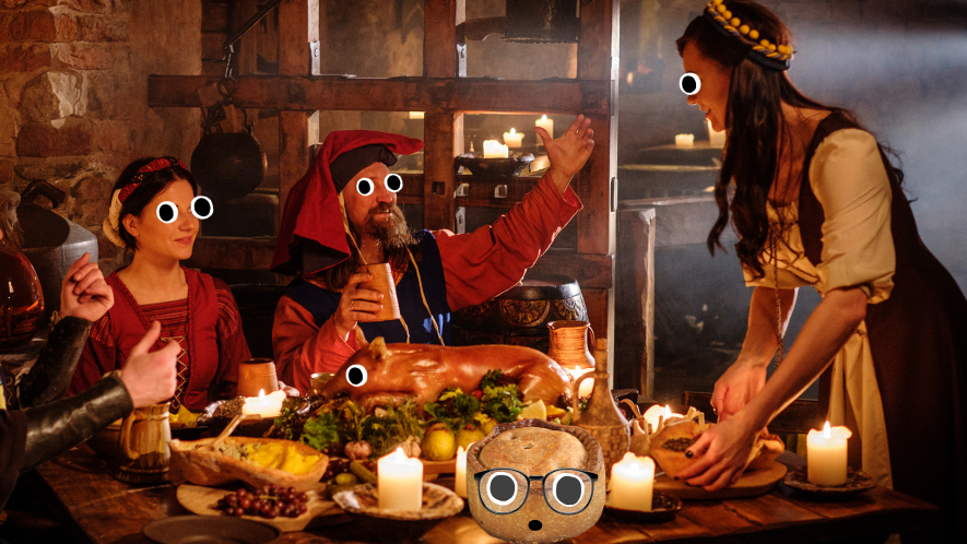 People from the past enjoying a meal with Beano pie