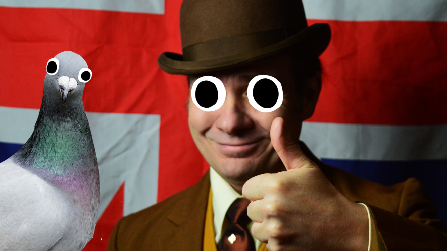 Man in bowler hat in front of Union Jack with Beano pigeon