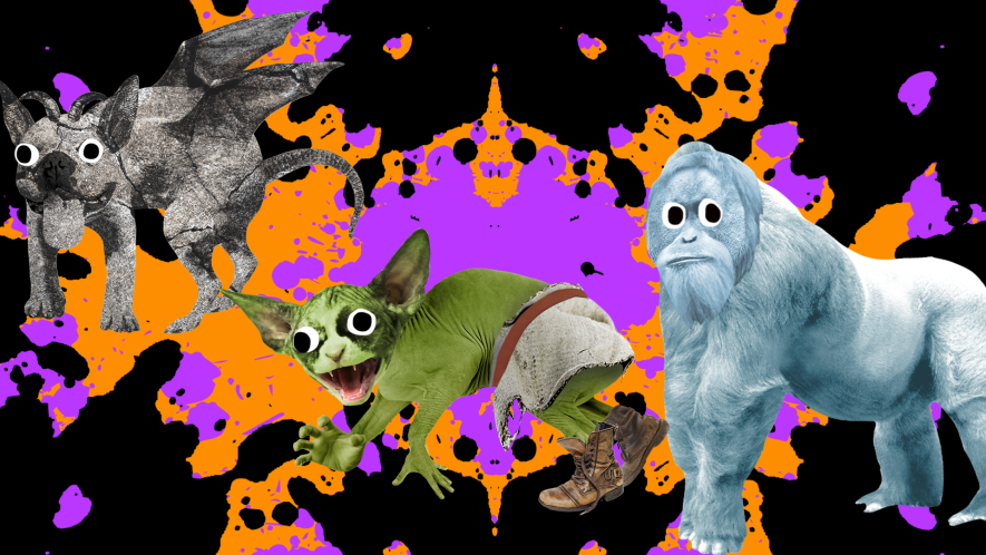 Halloween background and Beano monsters