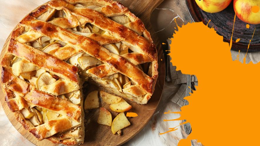 Apple pie with orange splat