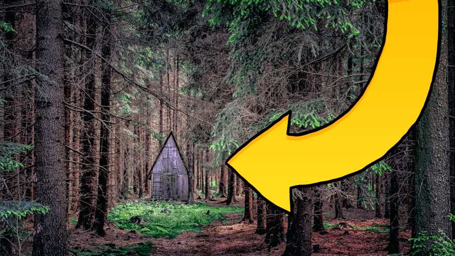 Creepy cottage in the woods with arrow